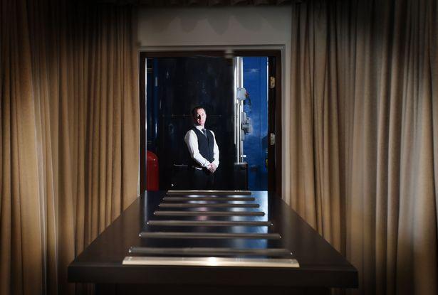 Paul Reed inside the crematorium